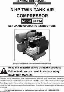 Central Pneumatic Air Compressor 94734 Users Manual