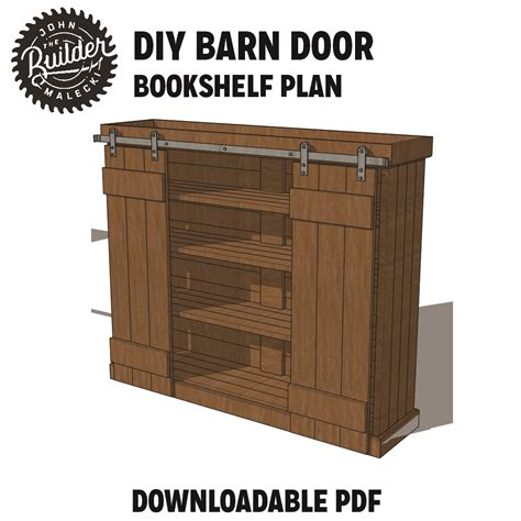sliding barn door bookshelf plan sprucd market