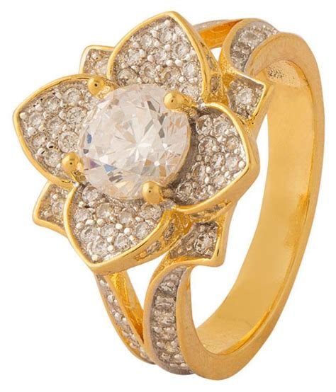 floral design cz embellished ring  women buy floral