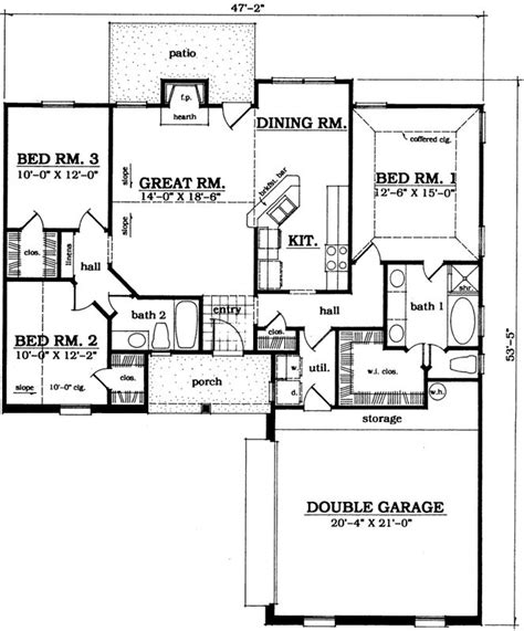 traditional style house plans  square foot home  story  bedroom   bath  garage