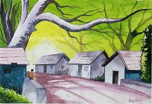 An Indian Village Scene – Water Colour Painting