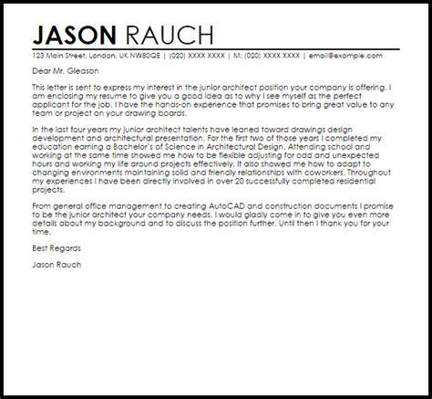 junior architect cover letter sle livecareer