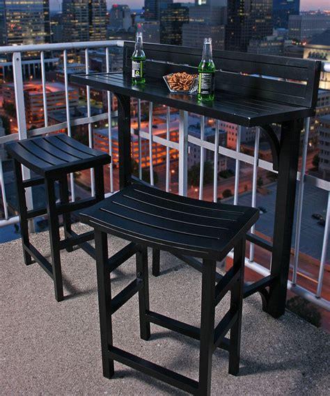 Balcony Furniture Set by Black Outdoor Balcony Bar Set Zulily Home