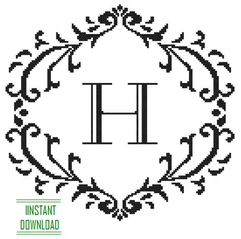 cross stitch pattern black monogram  initial alphabet  letter  gift home decor house warming
