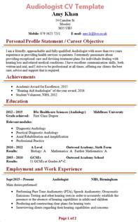 new resume format template audiologist cv template 1