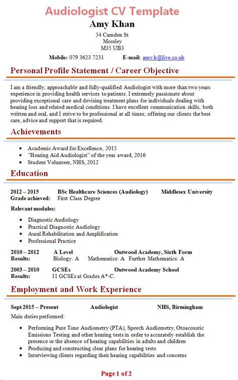 nhs resume audiologist cv staff cv exle learnist