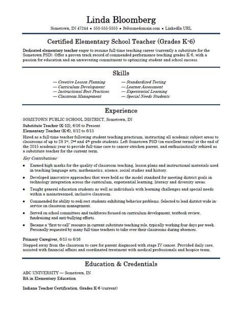 elementary school teacher resume template monstercom