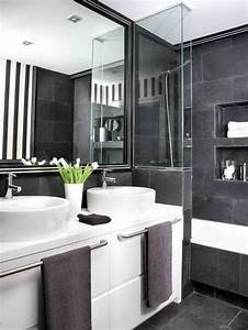 Badezimmer Fliesen Ideen Grau : cooles badezimmer einrichten schwarz wei und grau bad pinterest schwarz wei grau und ~ Markanthonyermac.com Haus und Dekorationen