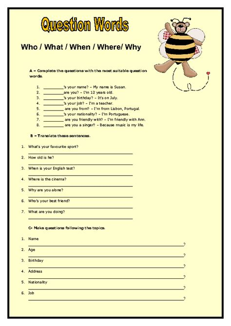 wh question words elementary worksheet ii