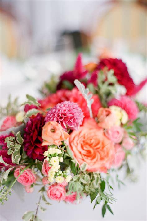 coral pink  red wedding flowers elizabeth anne