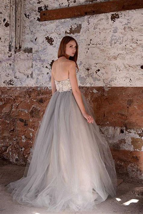 gray long strapless lace beach wedding dressessimple
