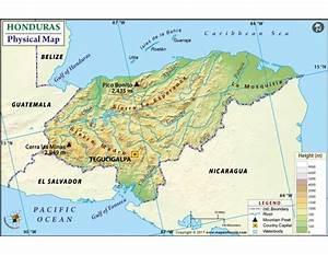Buy Honduras Physical Map