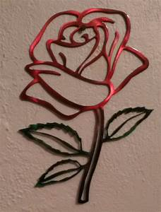 Red metal rose wall hanging art