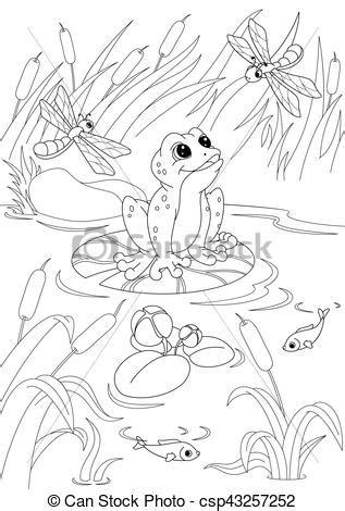 pond coloring page illustration frog   pond
