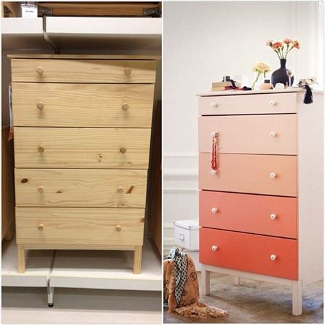 Tarva 6 Drawer Dresser Hack by Adorable Ombre Gradient Coral Dresser Ikea Hack Using The