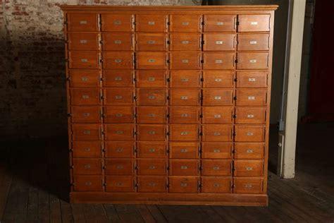 vintage industrial wood storage unit  multi drawer