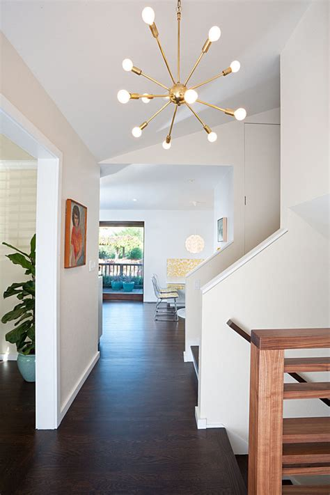 sputnik light entry midcentury with banister baseboard