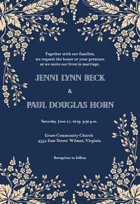 sprig sprays wedding invitation template