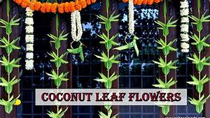 How to make Coconut leaf Toran: Flower type - YouTube