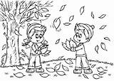 Coloring Fall Pages Leaves Preschool sketch template