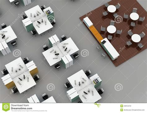 bureau en open space open space office on gray background stock illustration