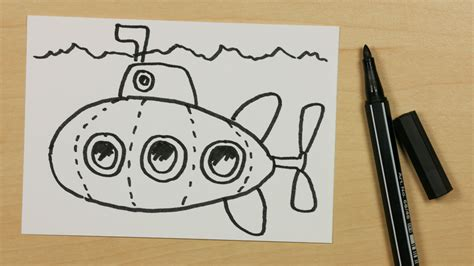 How To Draw A Boat Kindergarten by How To Draw A Submarine Or U Boat Easy Cartoon Doodle