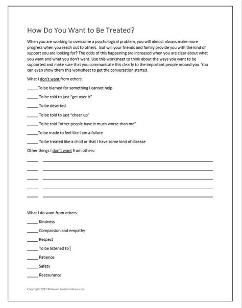 sessions mental health worksheets  adults