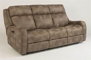 flexsteel fabric power reclining sofa with power headrests With fabric sectional sofa with power recliner