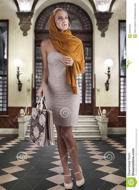 elegant fashion woman  shopping bag stock image