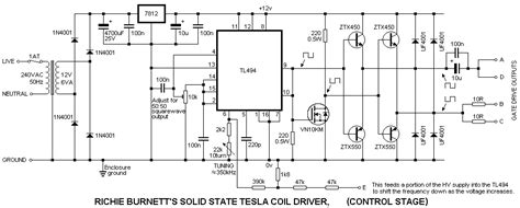 Tl494 Inverter Circuit by Solid State Tesla Coil Project Tl494 Pwm High Voltage