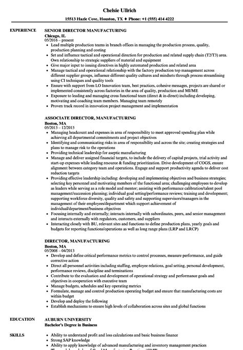 Manufacturing Resume by Director Manufacturing Resume Sles Velvet