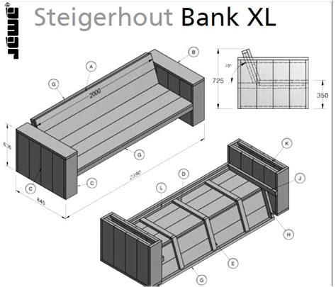hoekbank steigerhout zelf maken tekening bouwtekening voor een loungebank steigerplanken