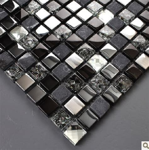 black mosaic tiles crystal glass mixed stone  stainless