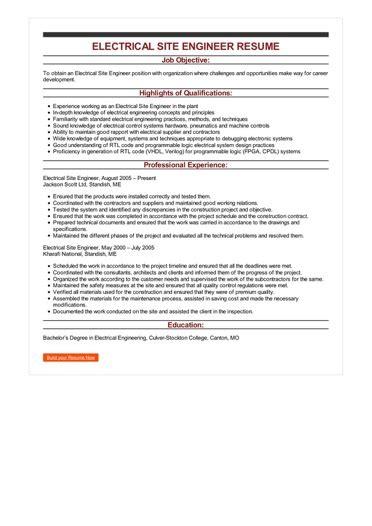 Site Engineer Resume by Electrical Site Engineer Resume Great Sle Resume