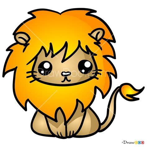 draw lovely lion kawaii