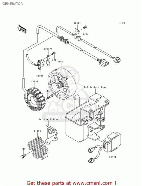 kawasaki 1992 c4 klf300 generator schematic partsfiche