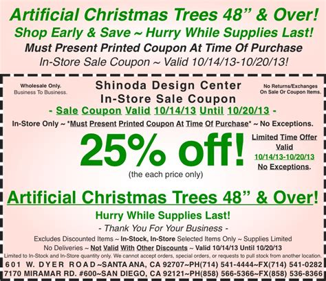 in store coupon 25 off artificial christmas trees 48