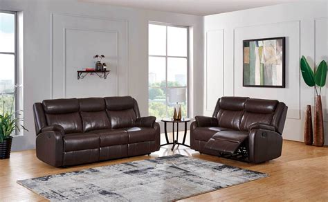 Style Sofa Sets by Brown Upholstered Reclining Three Sofa Set