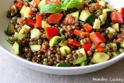 cuisine deux couleurs salade de lentilles aux légumes