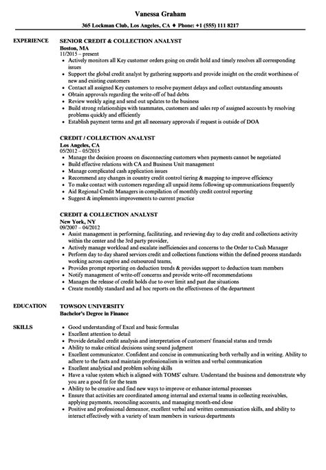 Senior Credit Analyst Resume by Credit Collection Analyst Resume Sles Velvet