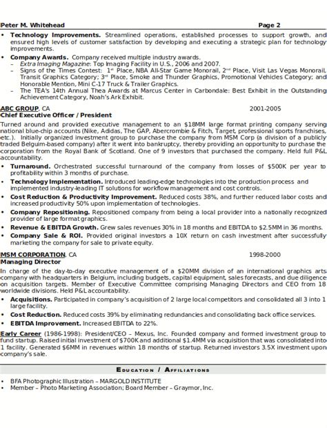 Senior Executive Resume by Resume Sle 5 Senior Executive Resume Career Resumes