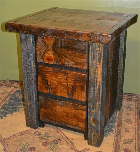Rough Sawn Pine 3 drawer Nightstand   Rustic Furniture