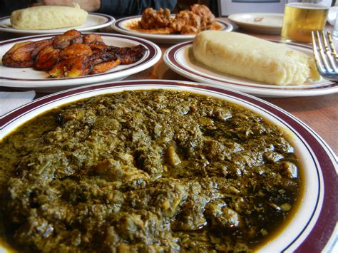 traditional congolese meal fufu casava leaf stew plantains food cuilinary