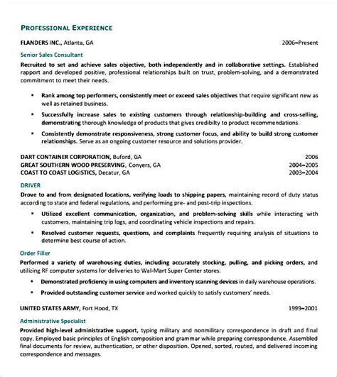 sales consultant resume free sles exles format