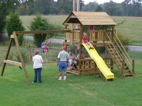 diy playhouse swing set plans plans  playhouse