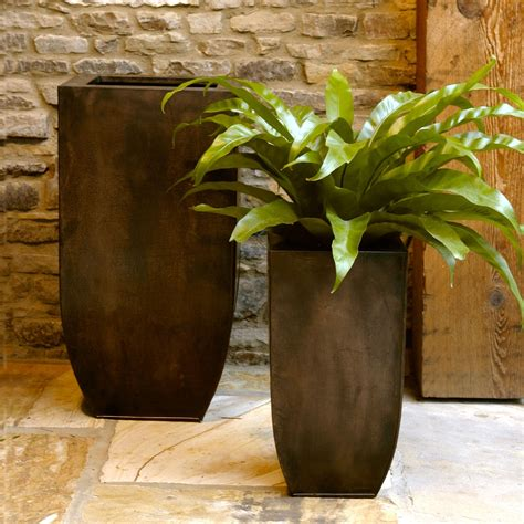 Copper Outdoor Planters by Square Copper Zinc Narrow Planter Set At Hayneedle