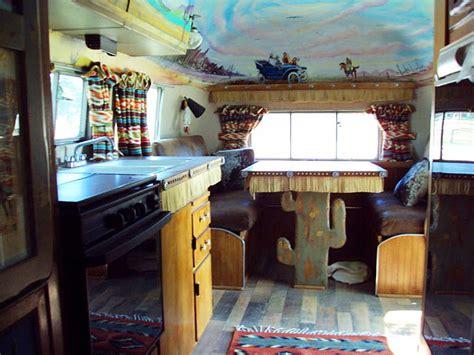 airstream custom wild west kitchen ceiling mural
