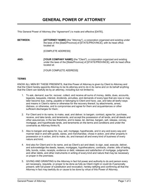 general power of attorney template general power of attorney template sle form biztree