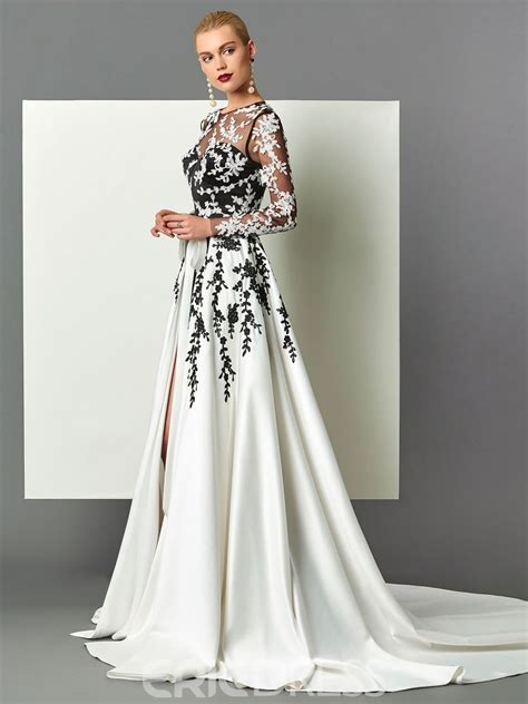 Ericdress Long Sleeve Appliques Evening Dress With Train ...