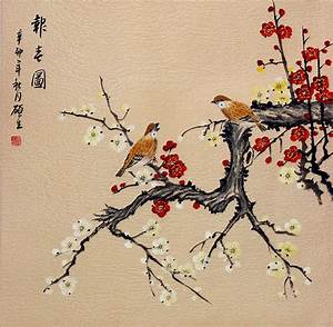 Birds and Plum Blossom Painting - Birds & Flowers Wall